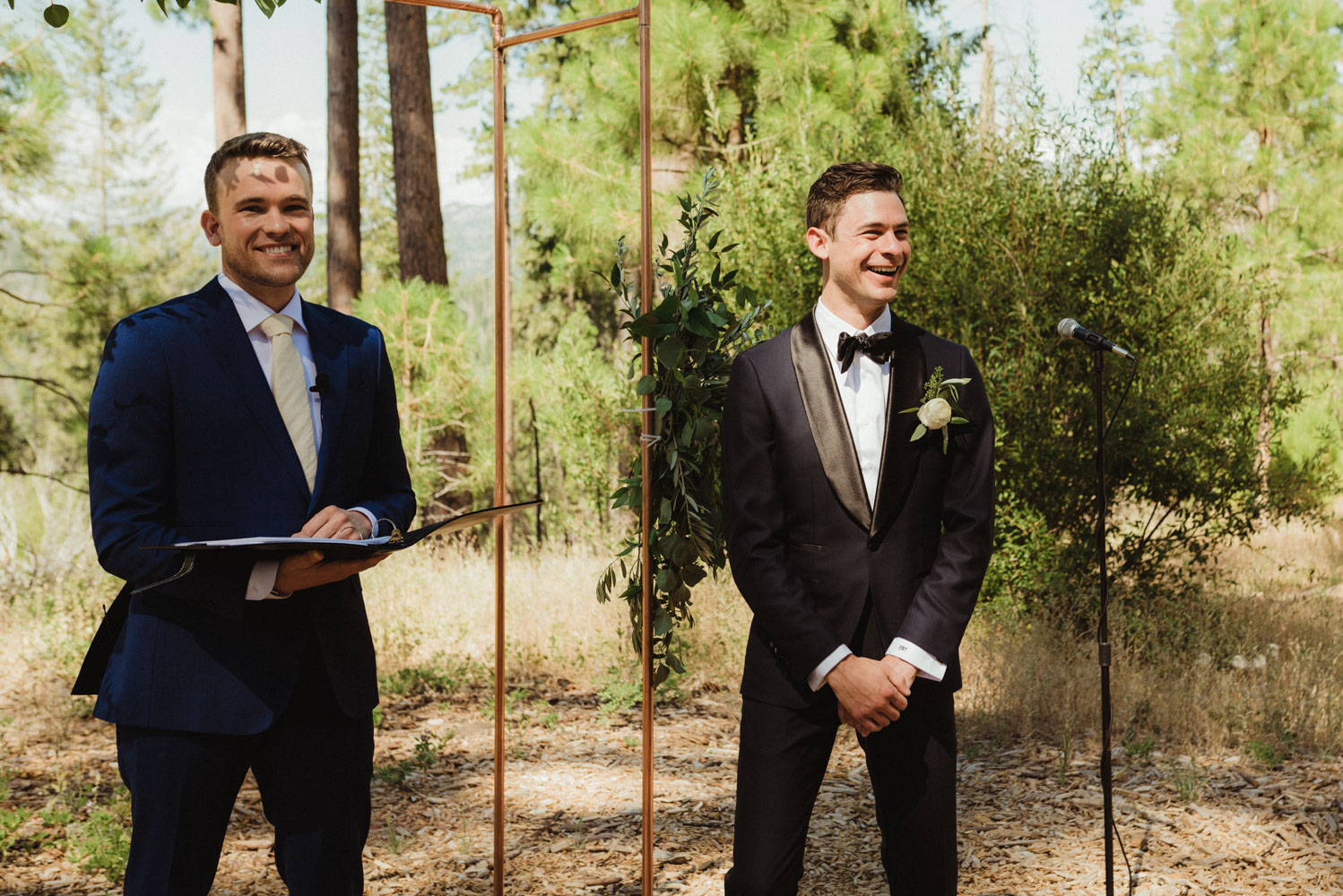 Rush Creek Lodge Wedding, photo of groom seeing his bride for the first time