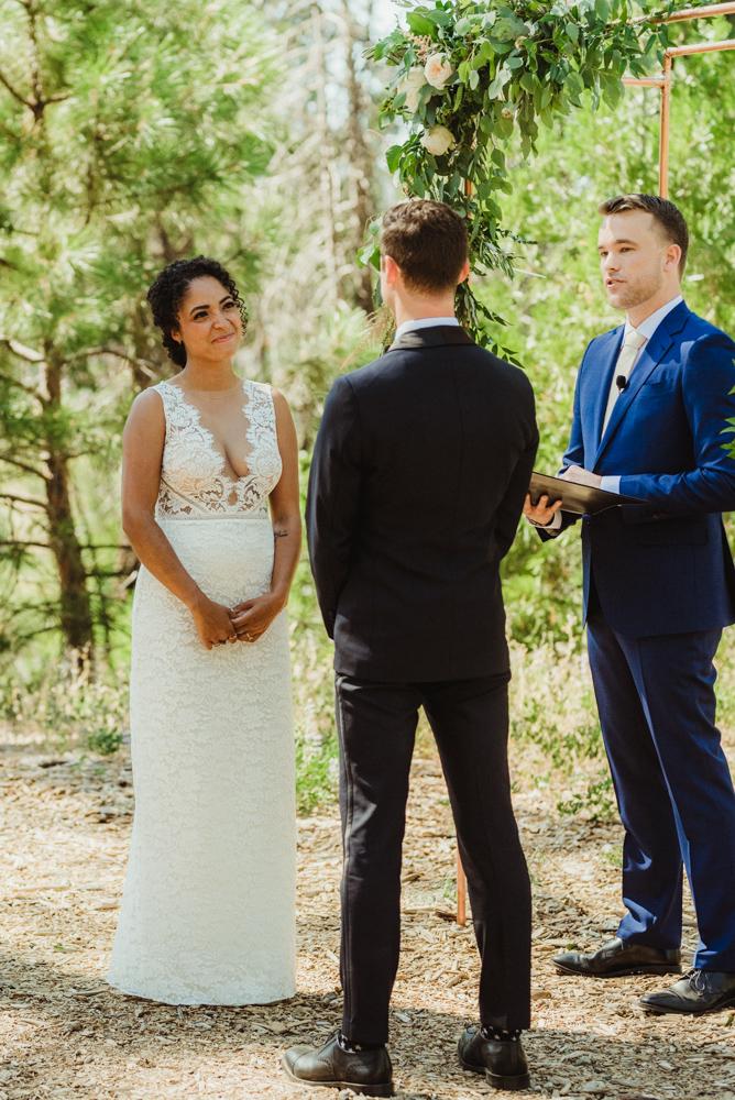 Rush Creek Lodge Wedding, photo of bride looking at her groom