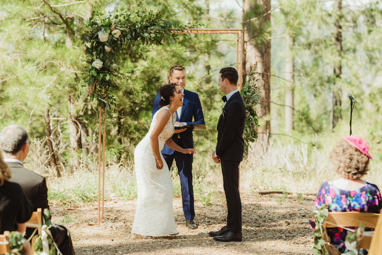 Rush Creek Lodge Wedding, photo of couple laughing during their ceremony