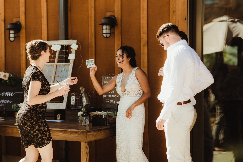 Rush Creek Lodge Wedding, bride at cocktail hour