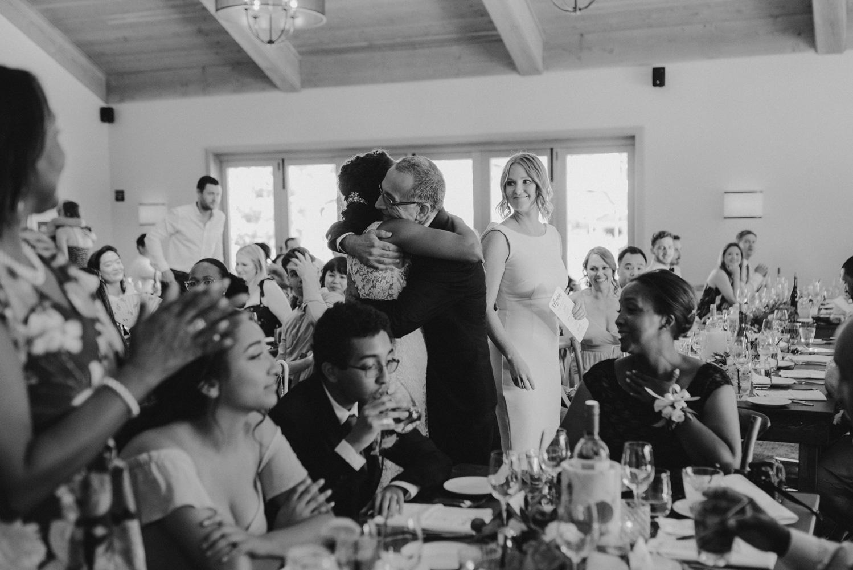 Rush Creek Lodge Wedding, bride hugging her dad photo