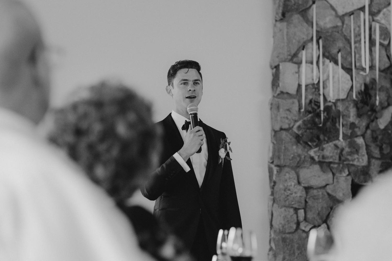 Rush Creek Lodge Wedding, groom giving a speech photo