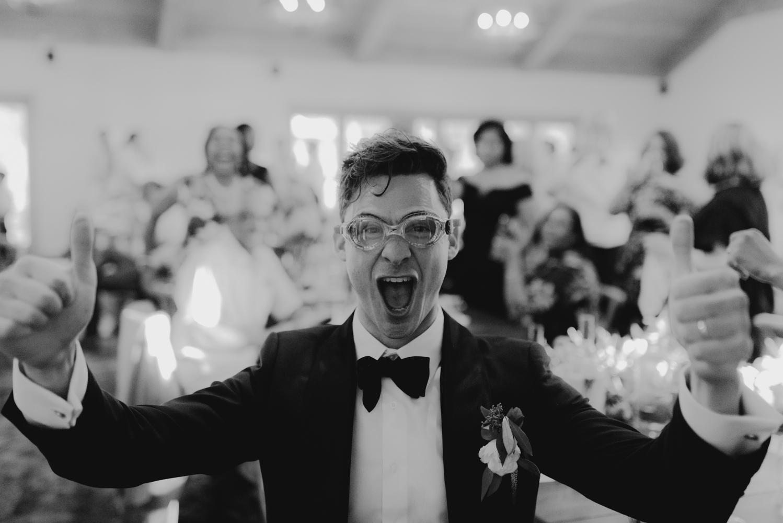 Rush Creek Lodge Wedding, groom wearing goggles photo