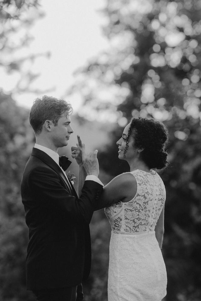 Rush Creek Lodge wedding, couple playing around photo