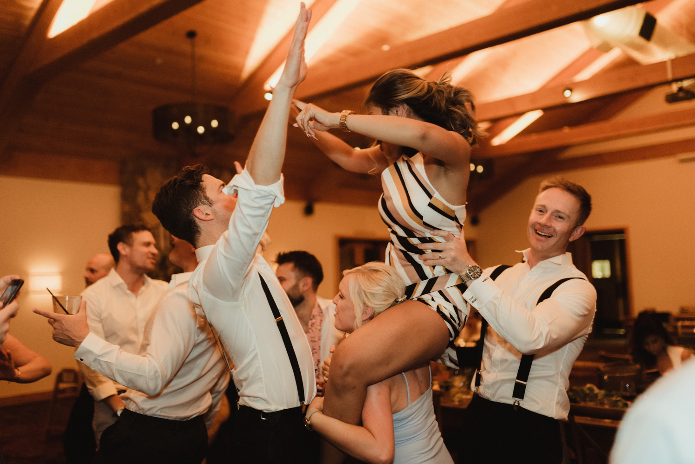 Rush Creek Lodge wedding, friends on the dance floor photo