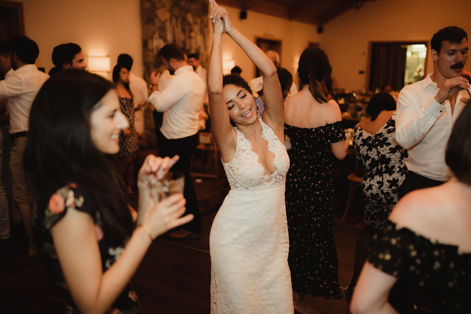 Rush Creek Lodge wedding, bride being surrounded by her friends photo