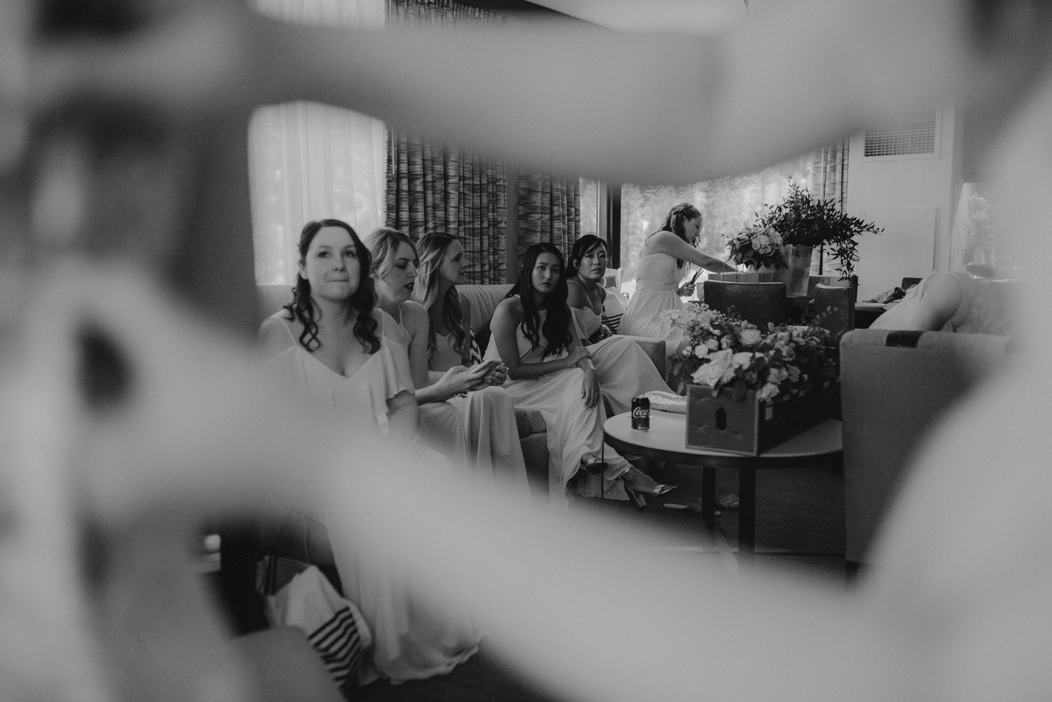 Hellman-Erman Mansion Wedding, photo of bridesmaids framed by hand and arms