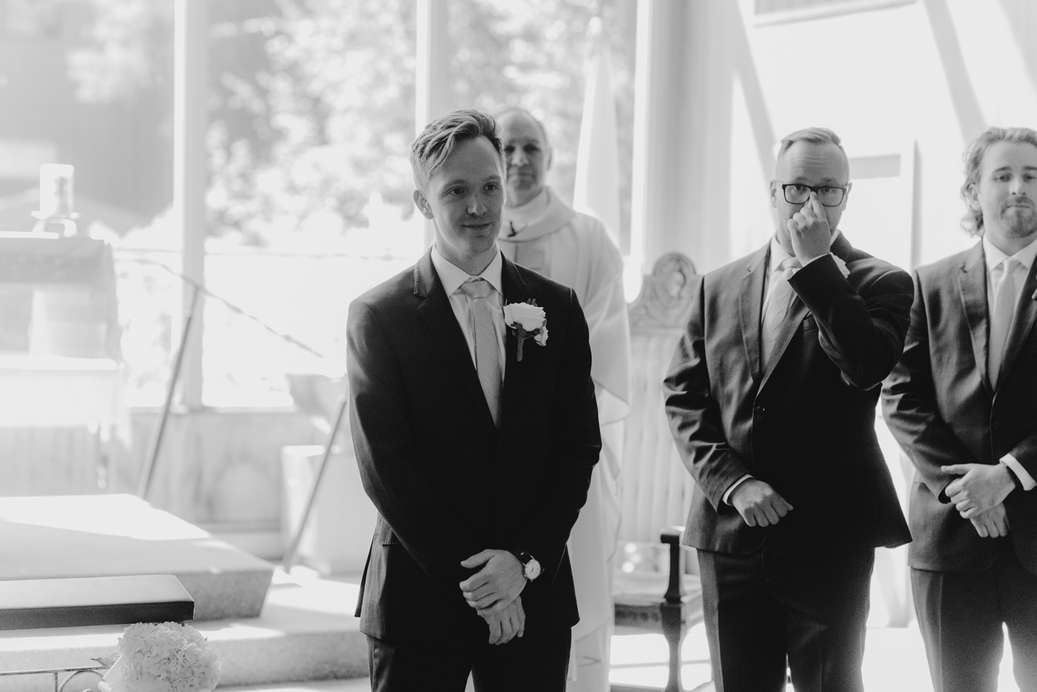Hellman-Erman Mansion Wedding, photo of groom waiting for the bride at the end of the aisle