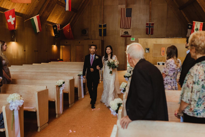 Hellman-Erman Mansion Wedding, photo of bride walking down the aisle