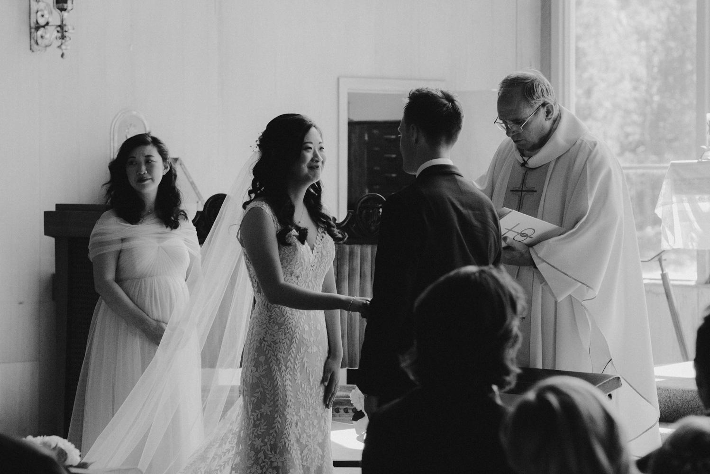 Hellman-Erman Mansion Wedding, photo of bride saying her vows
