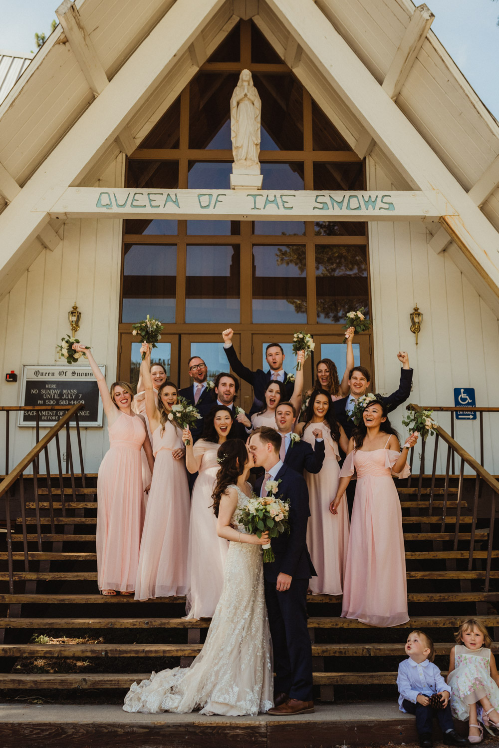 Hellman-Erman Mansion Wedding, photo of bridal party in front of the church (Quen of the Snows)