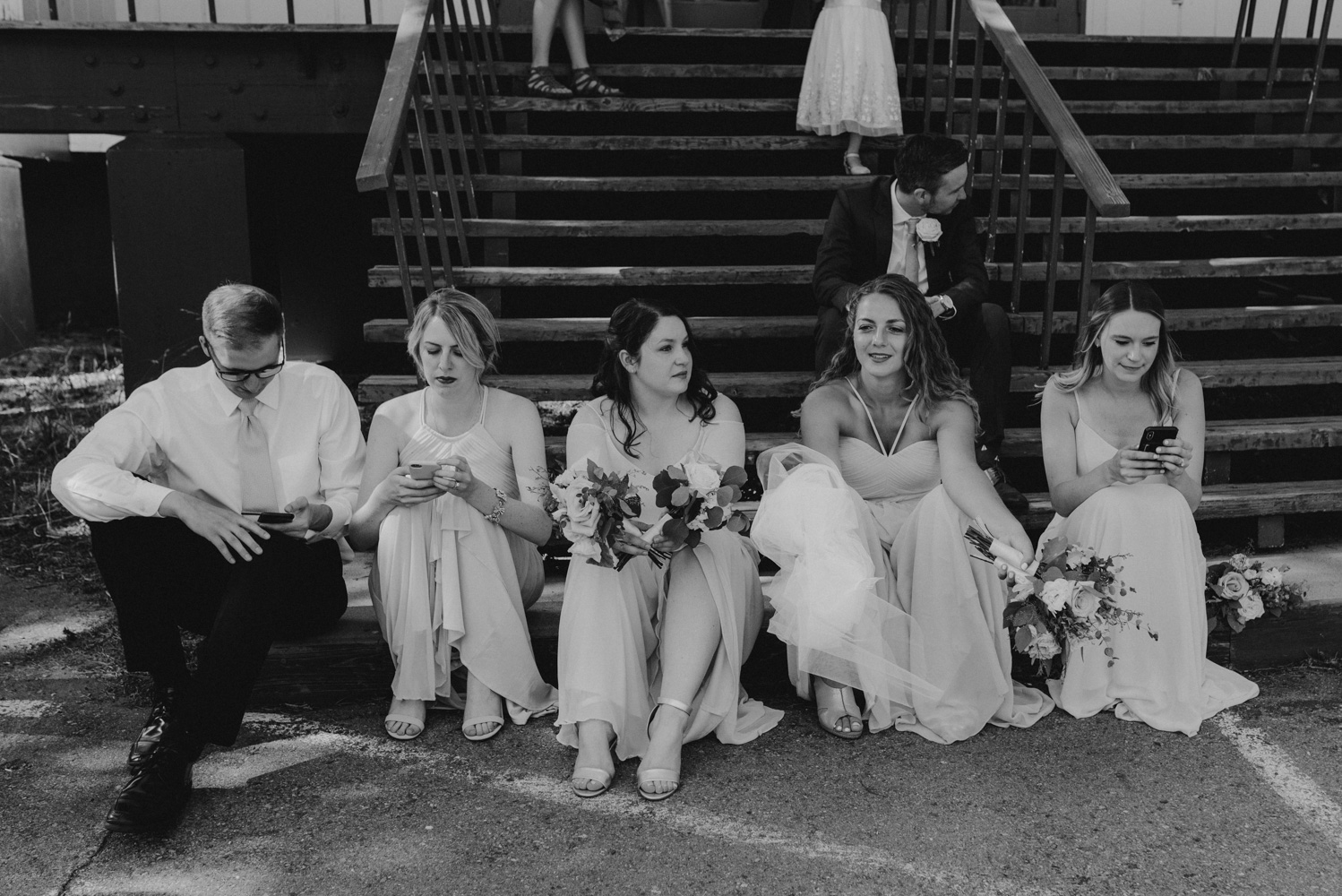 Hellman-Erman Mansion Wedding, photo of bridal party relaxing