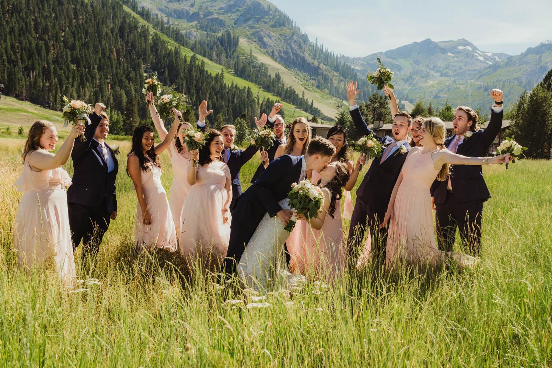 Hellman-Erman Mansion Wedding, photo of bridal party celebrating