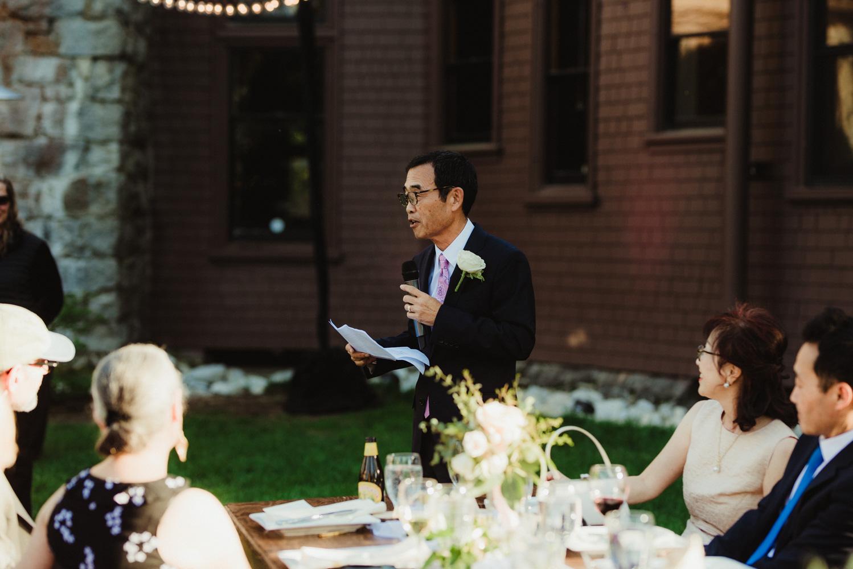 Hellman-Erman Mansion Wedding, photo of dad giving his toast