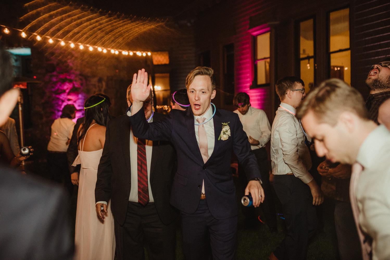 Hellman-Erman Mansion Wedding, photo of groom dancing