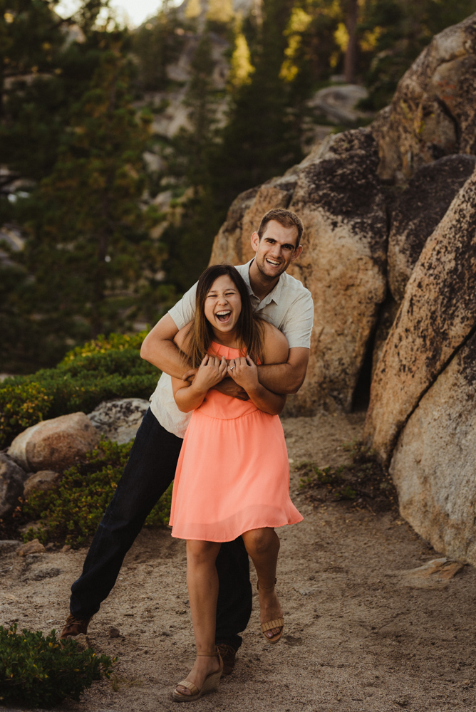 Lake Tahoe Wedding Photographer, photo of couple looking at the camera and smiling