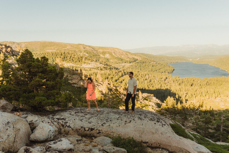 Lake Tahoe Wedding Photographer, photo of couple overlooking Donner Lake in Truckee