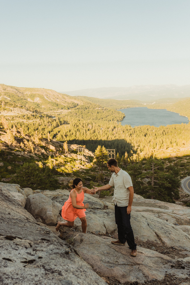 Lake Tahoe Wedding Photographer, photo of couple with Donner Lake in the background