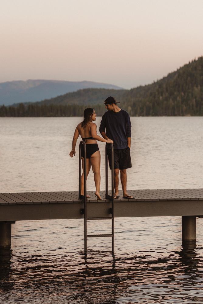 Lake Tahoe Wedding Photographer, photo of couple during sunset at Donner Lake