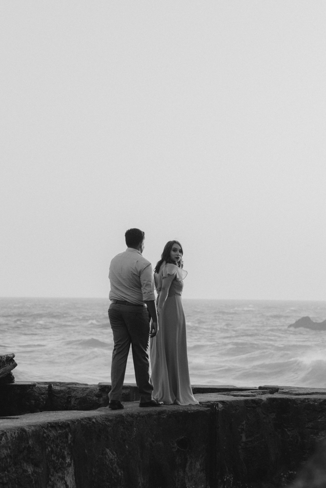 Sutro Baths Engagement Session, photo of couple walking on the bath steps