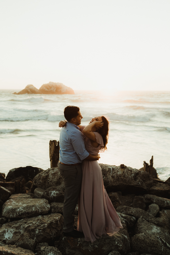 Sutro Baths Engagement Session, photo of couple laughing