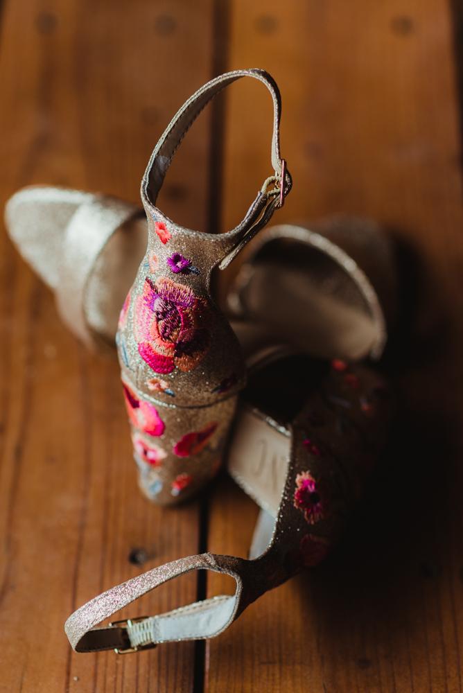 Twenty Mile House Wedding Photographer, bridal shoes (glittery with flowers on them)