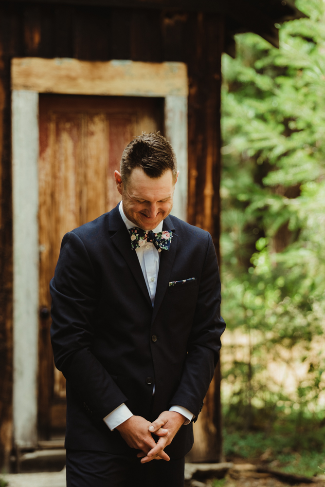 Twenty Mile House Wedding Photographer, groom seeing his bride for the first time photo