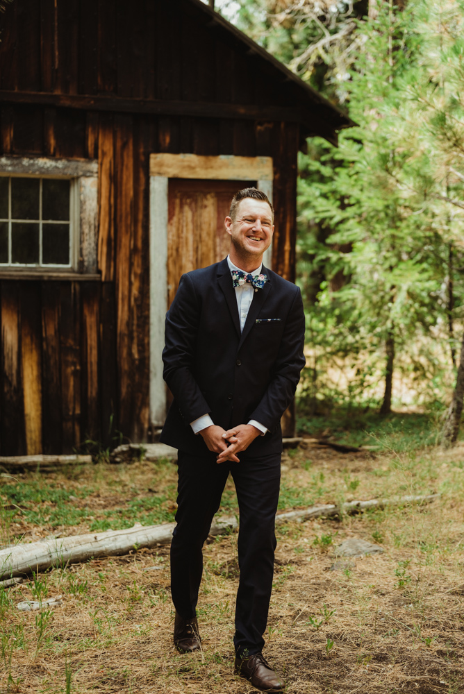 Twenty Mile House Wedding Photographer, groom stoked to see his bride to be