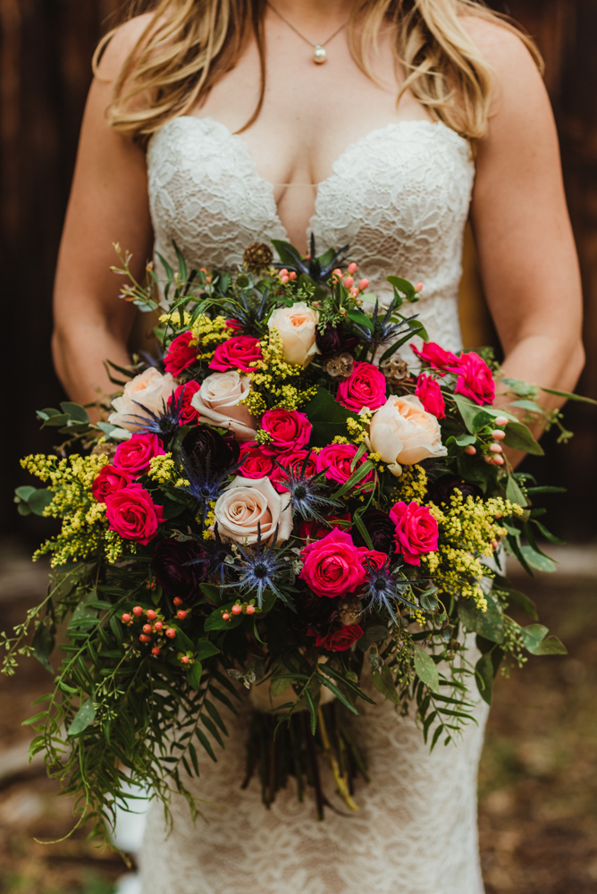 Twenty Mile House Wedding Photographer, bridal bouquet with fresh fun bold colors