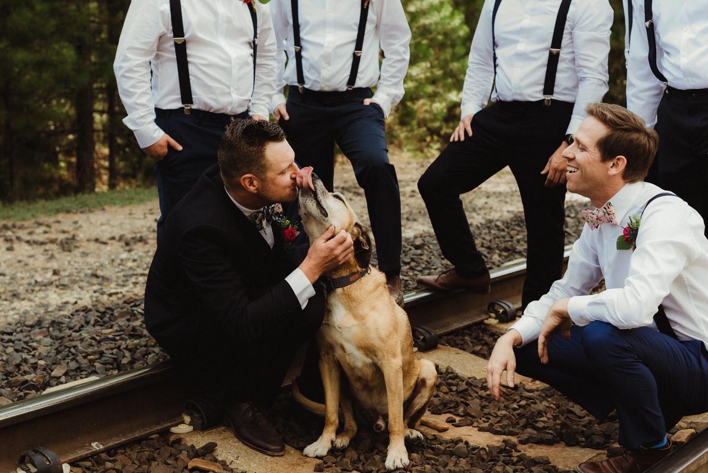 Twenty Mile House Wedding Photographer, photo of groom and his dog
