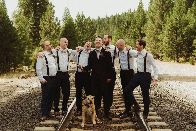 Twenty Mile House Wedding Photographer, photo of groomsmen and dog
