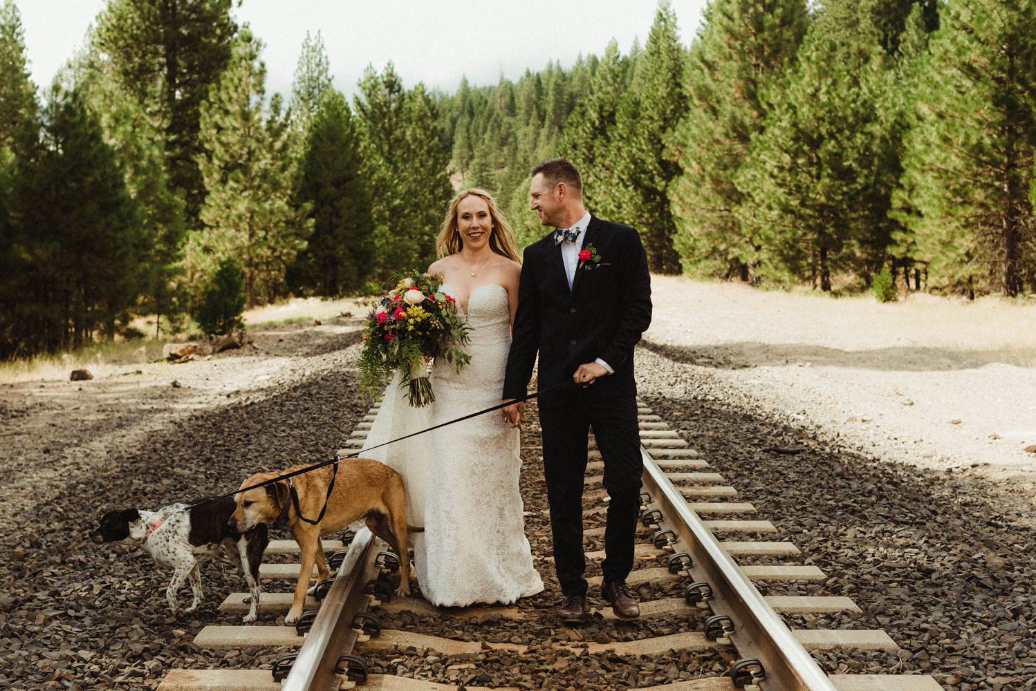 Twenty Mile House Wedding Photographer, photo of coulee and their dogs on their wedding day