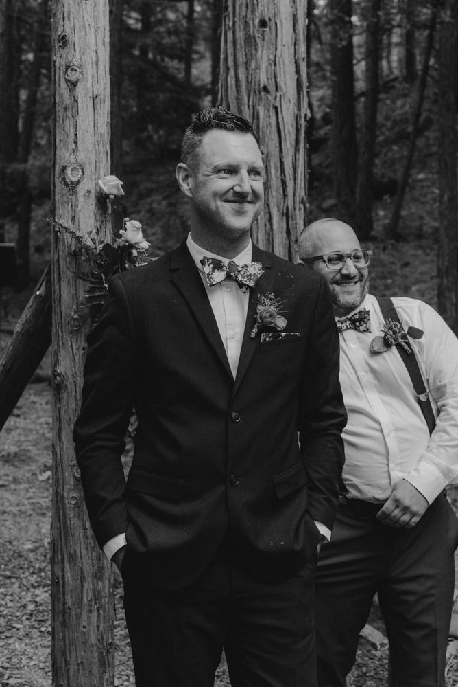 Twenty Mile House Wedding Photographer, photo of groom during the ceremony
