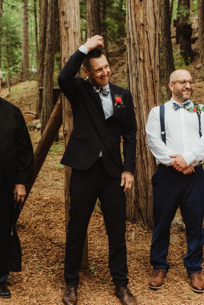 Twenty Mile House Wedding Photographer, photo of groom seeing his bride walk down the aisle while it rains