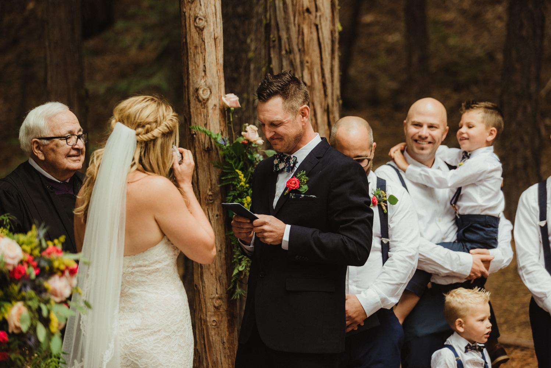 Twenty Mile House Wedding Photographer, groom reading his vows photo