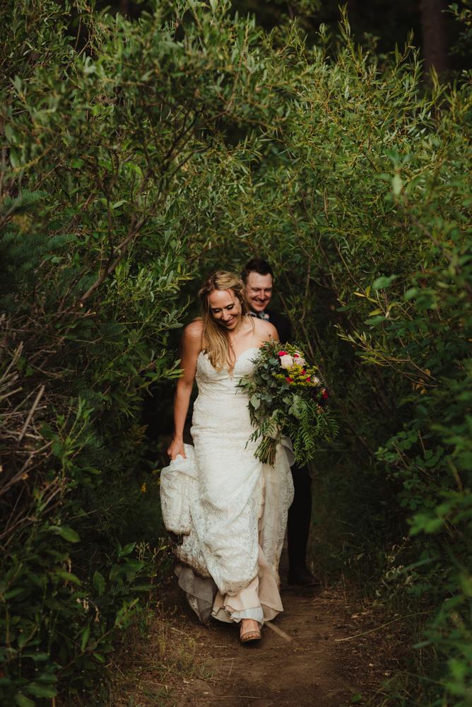 Twenty Mile House Wedding Photographer, couple walking together on a trail photo