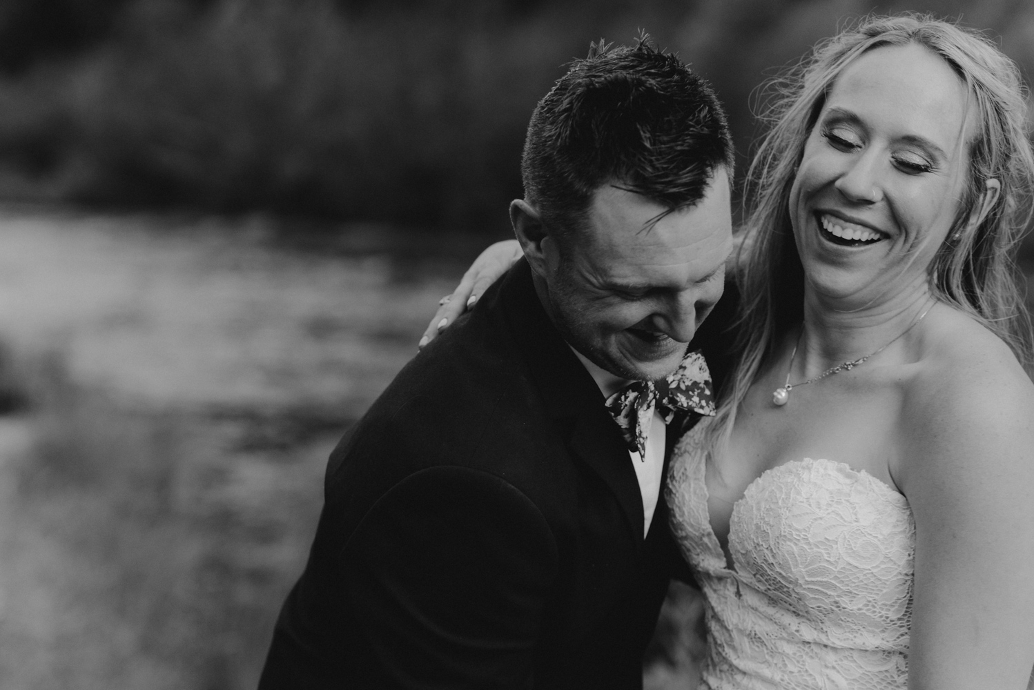 Twenty Mile House Wedding Photographer, photo of couple laughing with each other