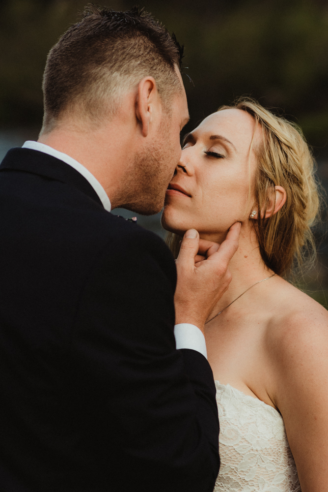 Twenty Mile House Wedding Photographer, close up photo of couple kissing