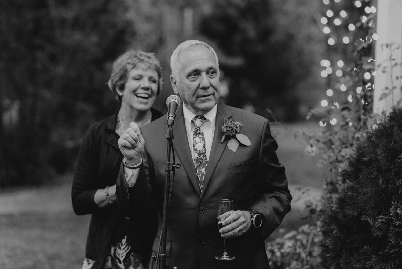 Twenty Mile House Wedding Photographer, bride's dad giving a toast