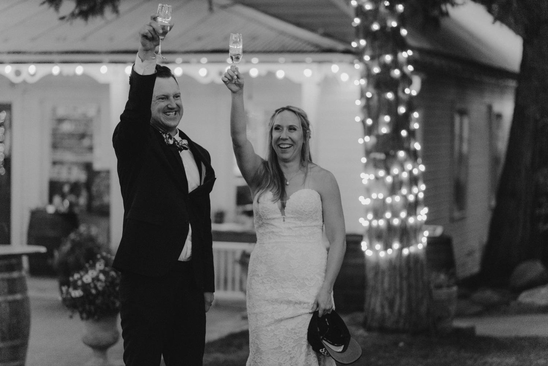 Twenty Mile House Wedding Photographer, couple toasting
