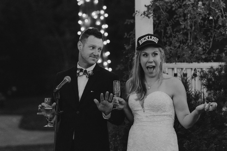 Twenty Mile House Wedding Photographer, bride wearing reckless wife cap