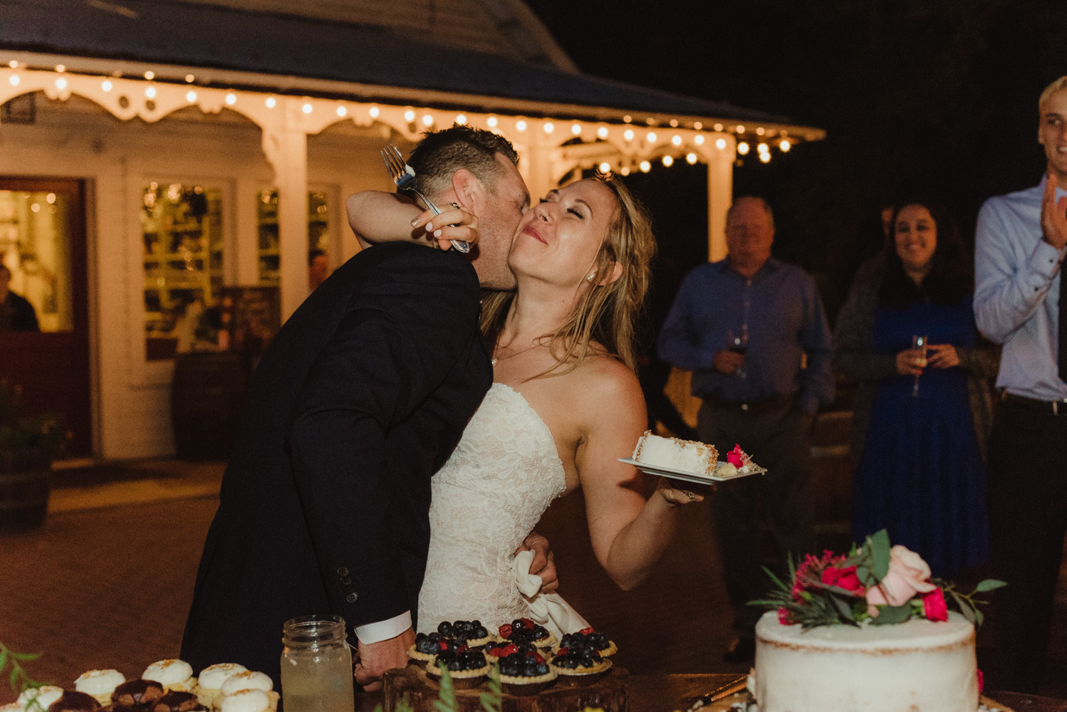 Twenty Mile House Wedding Photographer, photo of couple after they cut their cake