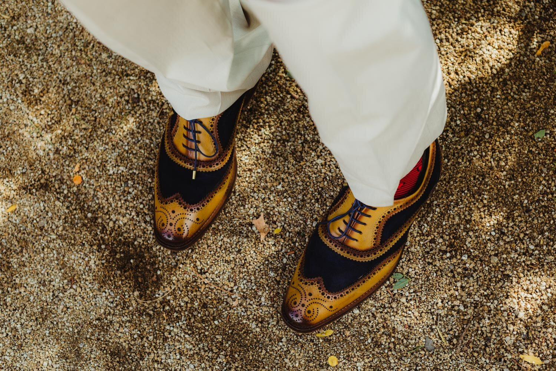 River School Farm Wedding, grooms shoes photo