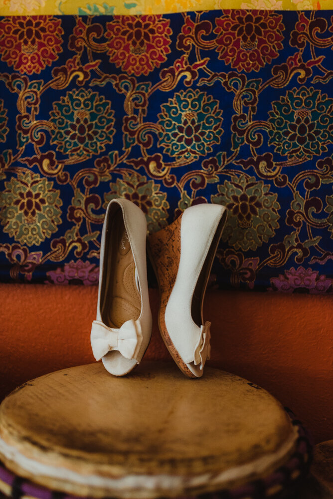 River School Farm Wedding, pictures of shoes with a colorful background