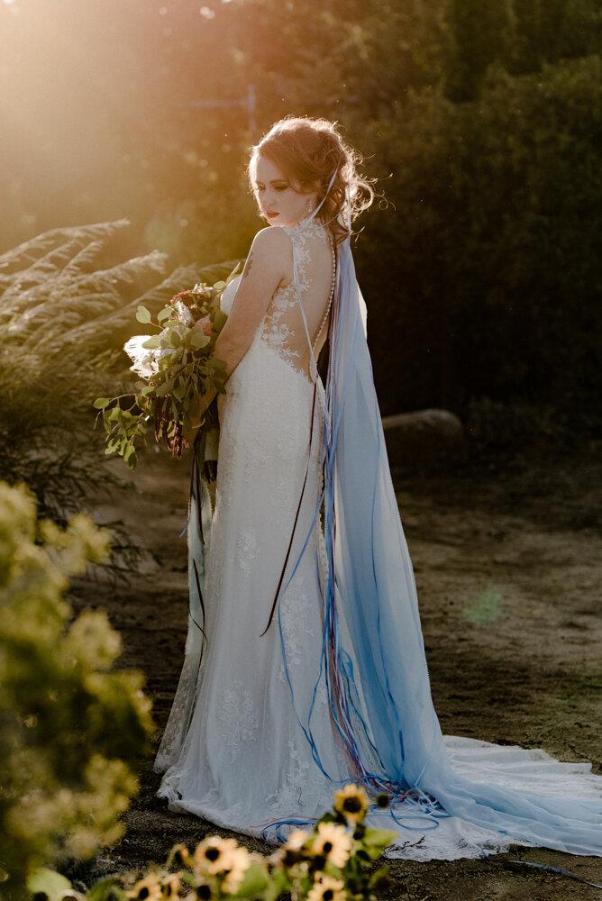 River School Farm Wedding, portraits of bride in color