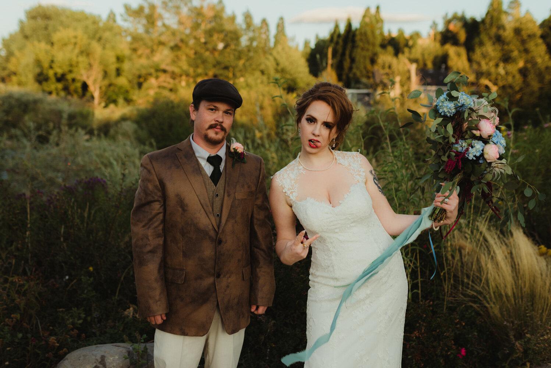 River School Farm Wedding, silly photo of couple