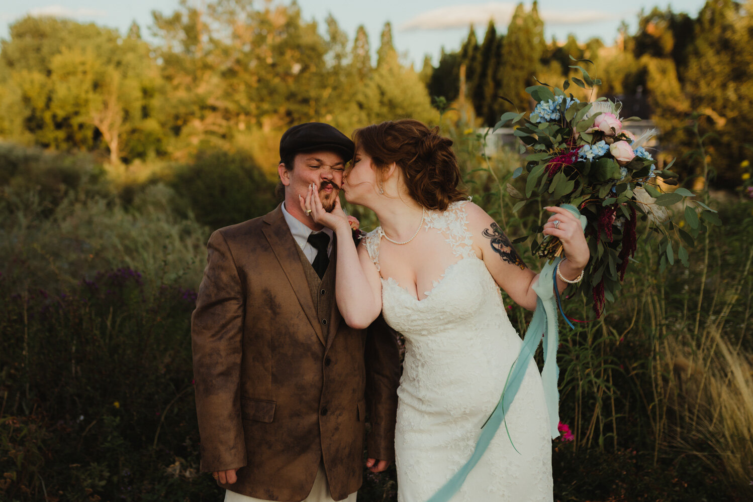 River School Farm Wedding, silly photo of couple playing around