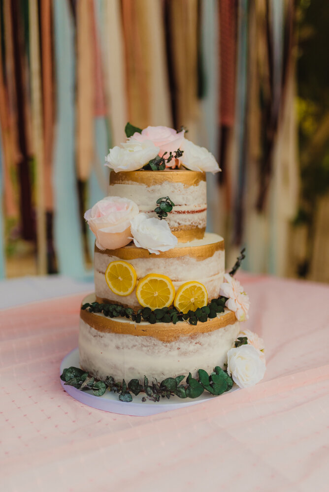 River School Farm Wedding, eclectic themed cake