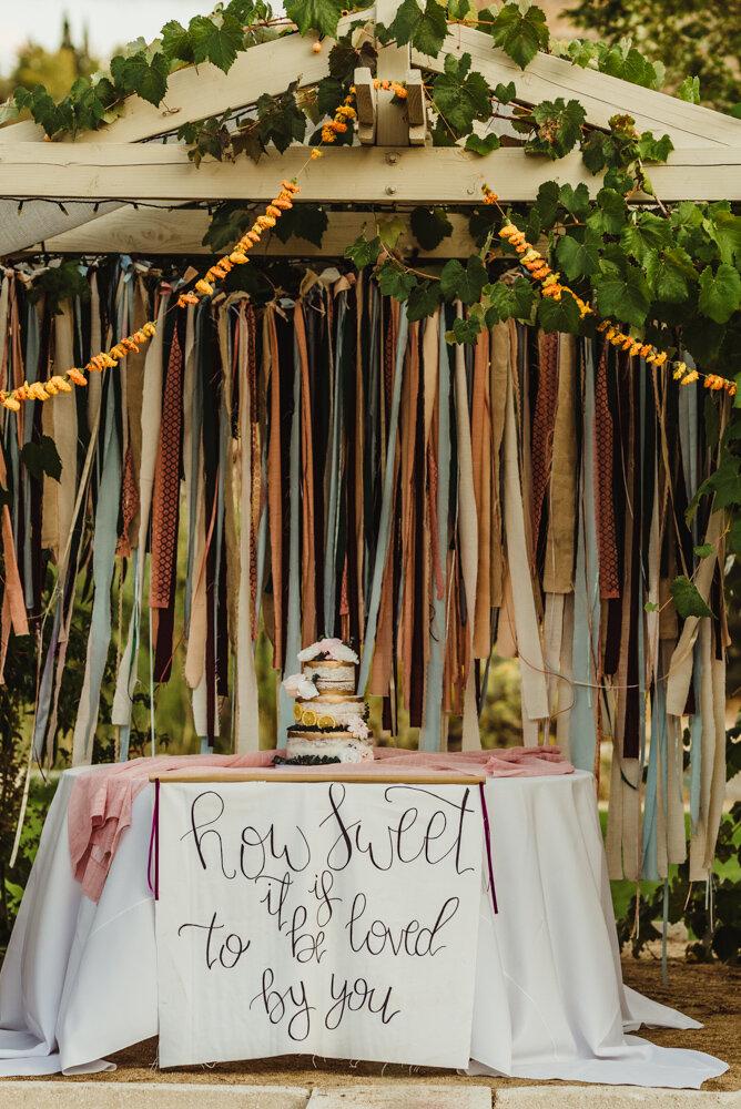 River School Farm Wedding,  wedding cake with an eclectic twist