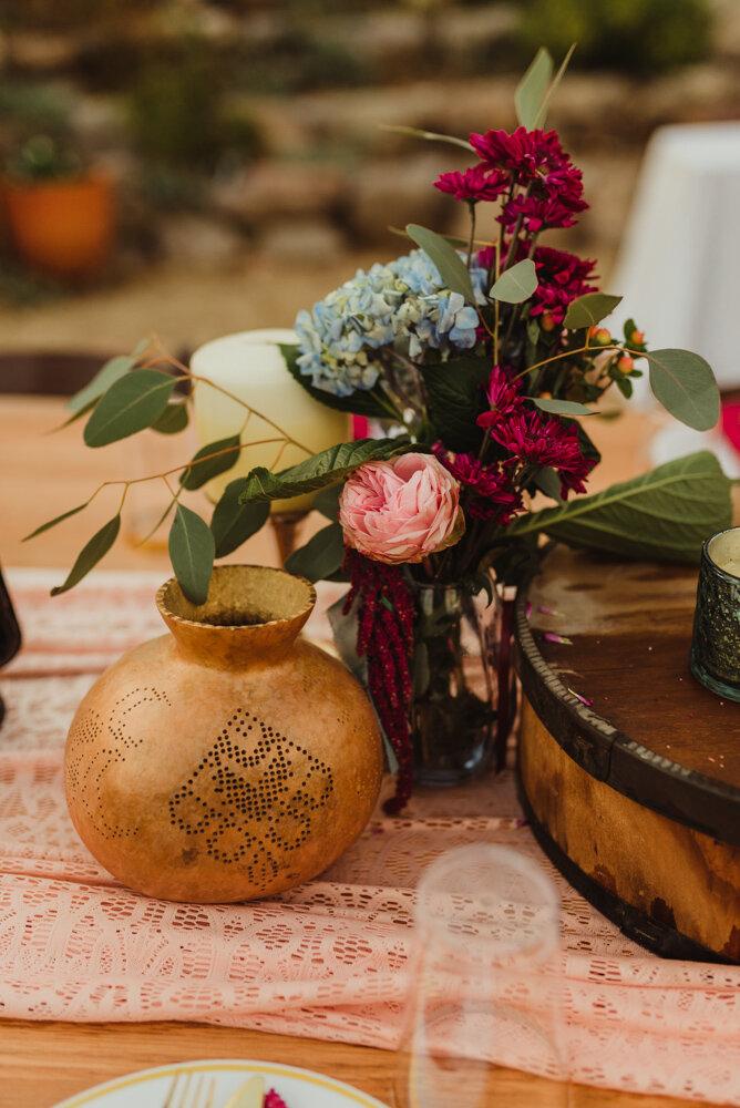 River School Farm Wedding, eclectic wedding theme centerpieces